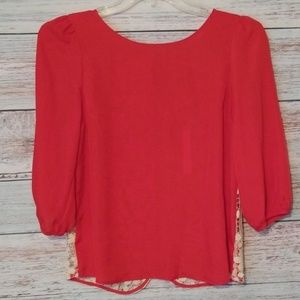 NEW Lauren Conrad Top Red White Lace Back